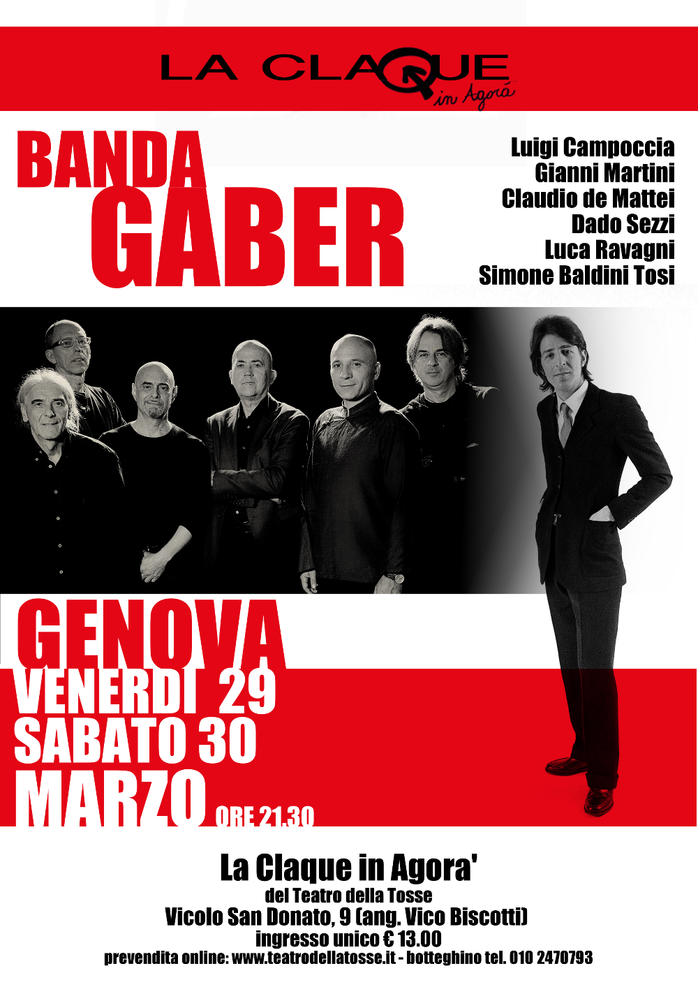 30 MARZO BANDA GABER - GENOVA